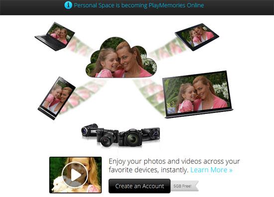 索尼云存储服务PlayMemories 5G免费空间