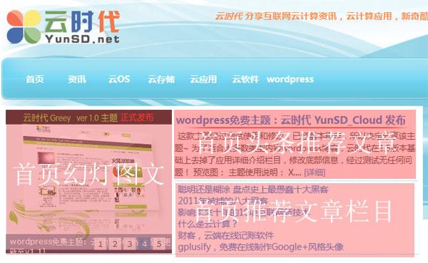 关于YunSD_Cloud主题首页幻灯,头条,推荐等调用教程