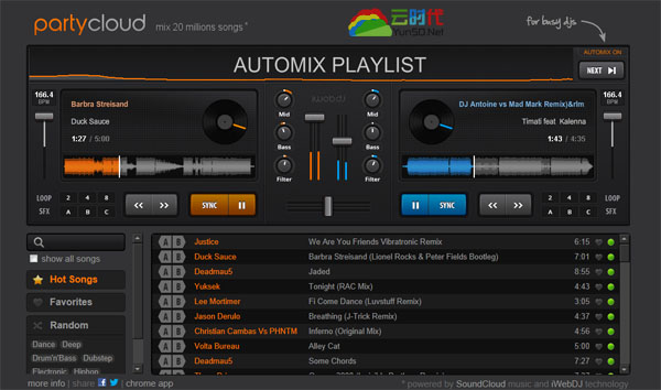 PartyCloud,超酷的在线DJ调音台