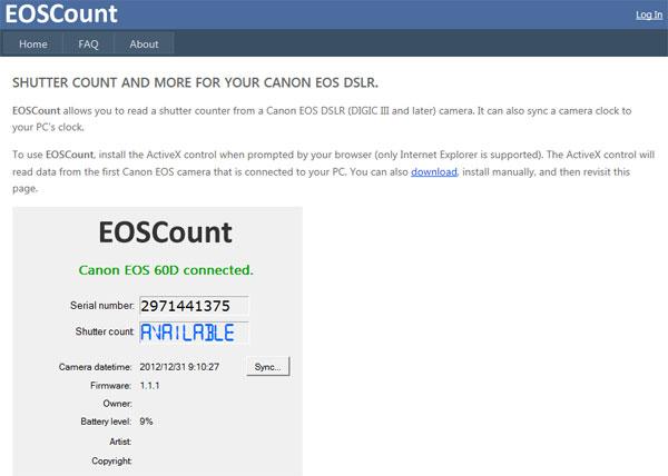 在线检测佳能单反快门次数:Eoscount