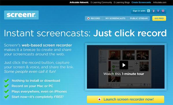 免费在线屏幕录像云软件:Screenr