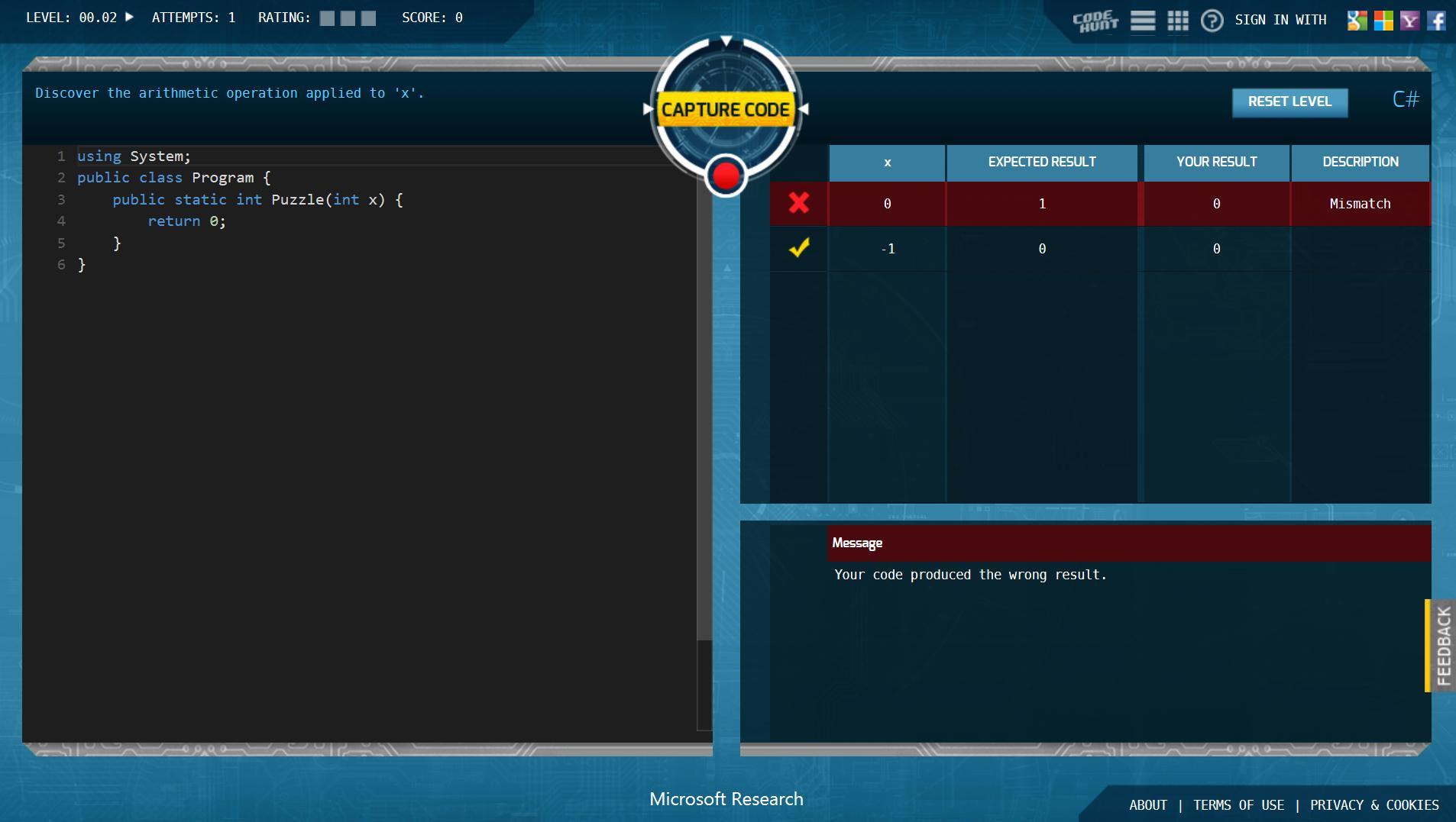 Code Hunt – 微软推出的在线编程游戏